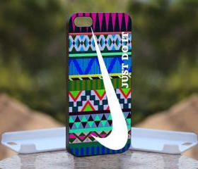 Nike Just Do It on Aztec - Print On Hard Case - iPhone 5 Black Case Cover - Please leave a note for the color case: WHITE CASE or CLEAR CASE