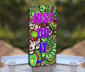 Nike Just Do It Paisley - Print On Hard Case - iPhone 4/4S Black Case Cover - Please leave a note for the color case: WHITE CASE or CLEAR CASE