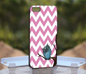 Owl Chevrone pink - Print On Hard Case - iPhone 4/4S Black Case Cover - Please leave a note for the color case: WHITE CASE or CLEAR CASE
